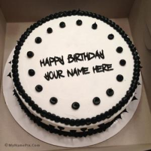 Black and White Birthday Cake With Name