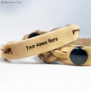 Personalized Brown Leather Bracelet With Name