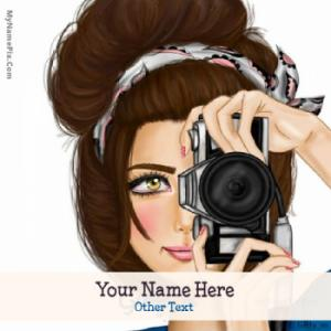 Camera Girl Drawing Image With Name