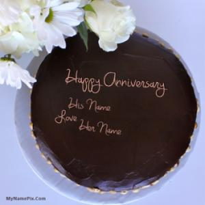 Anniversary Chocolate Cake Design : Happy Anniversary Cake With Name