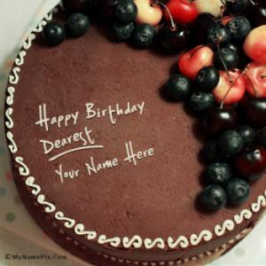 Chocolate Birthday Cake With Cherry With Name