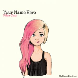 Colorful Hair Girl Image With Name