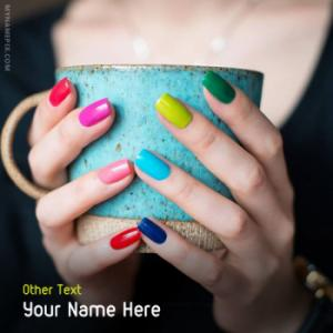 Colorful Nails Paint Image With Name