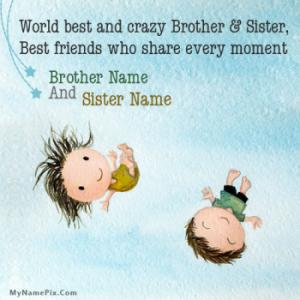 Cute Brother Sister Image With Name