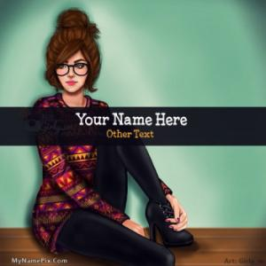 Cute Girl Drawing Image With Name