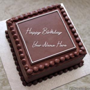 Elegant Square Cake With Name