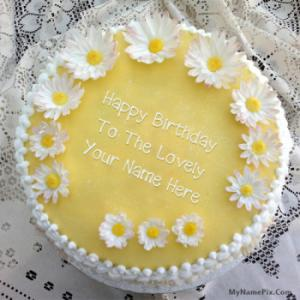 Flowers Happy Bday Cake With Name