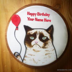 Funny Cat Birthday Cake With Name