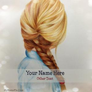 Girl Braid Drawing Image With Name