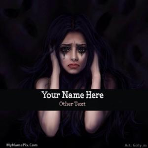 Girl Crying Drawing Image With Name