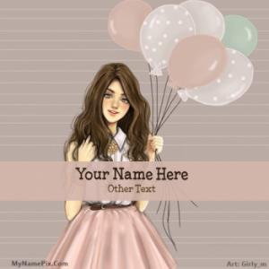 Girl With Baloons Image With Name