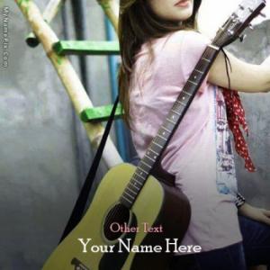 Guitar Girl Image With Name