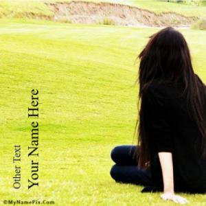 Alone Girl Waiting Image With Name
