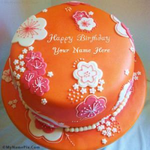 Beautiful Orange Birthday Cake With Name