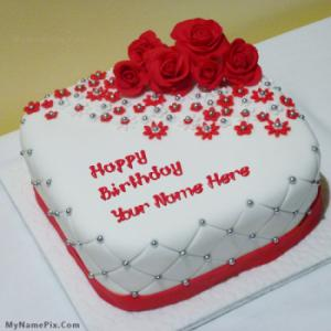 Beautiful Rose Cake With Name