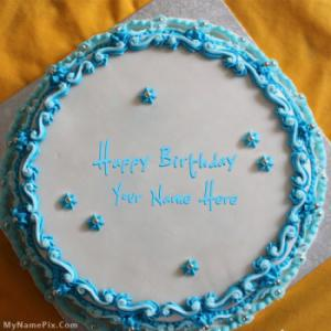 Blue Floral Birthday Cake With Name