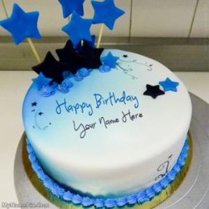 Blue Stars Birthday Cake With Name