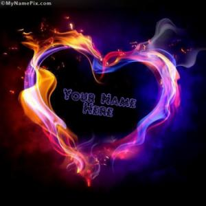 Burning Colorful Heart Nick Image With Name