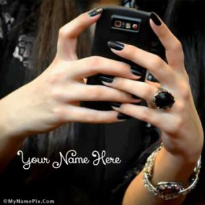 Cell Phone Girl in Black Image With Name