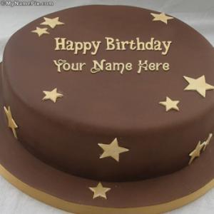 Chocolate Stars Cake With Name