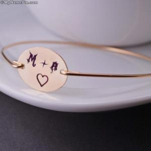 Love Heart Initial Bracelet With Name