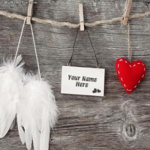 Love Tag Heart and Angel Wings Image With Name