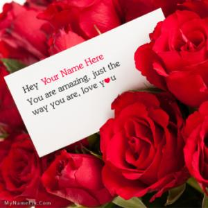 Lovely Rose Love Note Image With Name