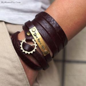 Personalized Nick Name Leather Bracelet With Name