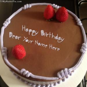 Chocolate Strawberry Birthday Cake With Name