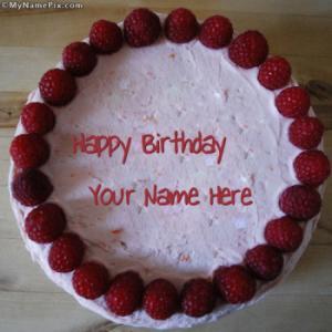 Strawberry Border Birthday Cake With Name