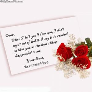 Sweet Love letter Image With Name