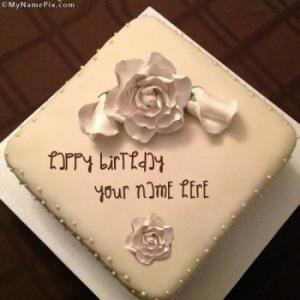 White Rose Cake With Name
