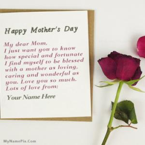 Mothers Day Card With Name