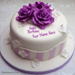 Pretty Rose Birthday Cake With Name