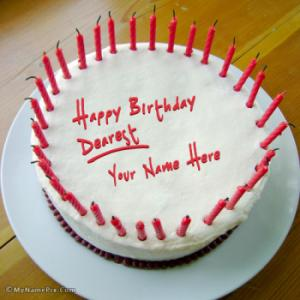 Red Candles Birthday Cake With Name