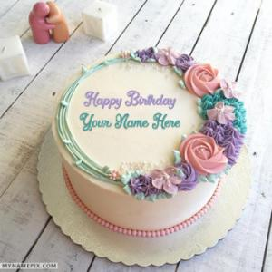 Romantic Colorful Roses Birthday Cake With Name