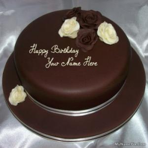 Rose Chocolate Birthday Cake With Name