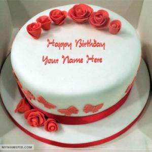 Roses Red Velvet Birthday Cake With Name