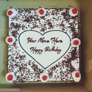Square Black Forest Birthday Cake With Name