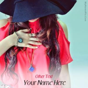 Stylish Cap Girl Image With Name