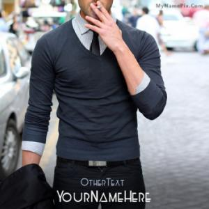 Stylish Guy Smoking Image With Name