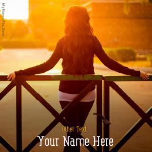 Sunset Alone Girl Image With Name