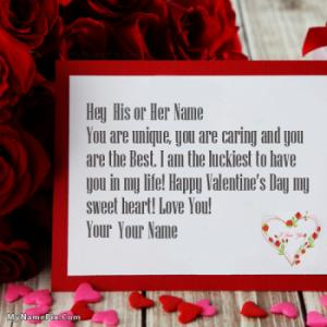 Valentine Day Wish Card With Name