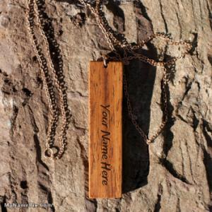Personalized Wood Pattern Pendant With Name