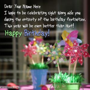 Write Name on Happy Birthday Wishes