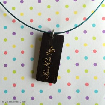 Personalized Black Wood Necklace With Name