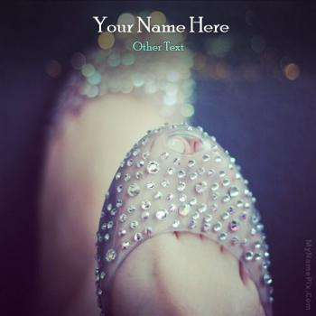 Crystal Girly Shoe Image With Name