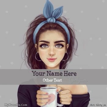 Girl with Cup Image With Name