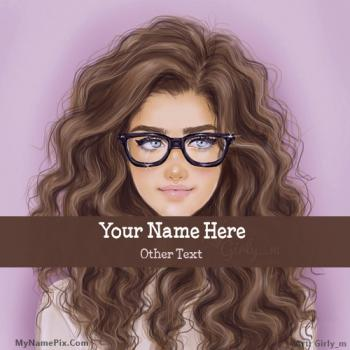 Glasses Girl Drawing Image With Name