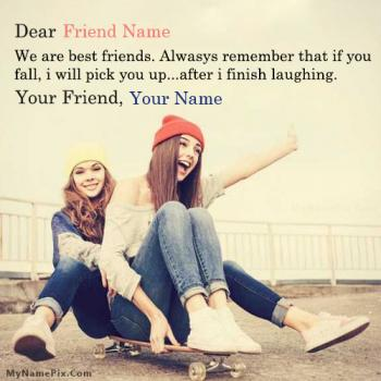 Laughing Best Friend Quote Image With Name